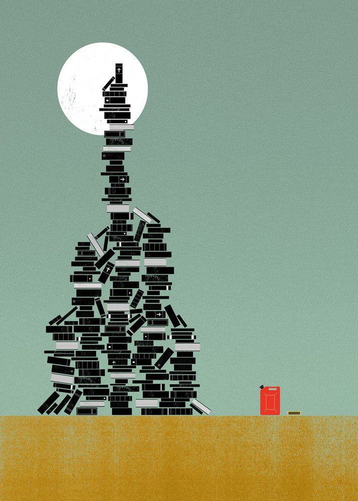 BIBLIOCLASM: The practice of destroying, often ceremoniously, books or other written material and media.