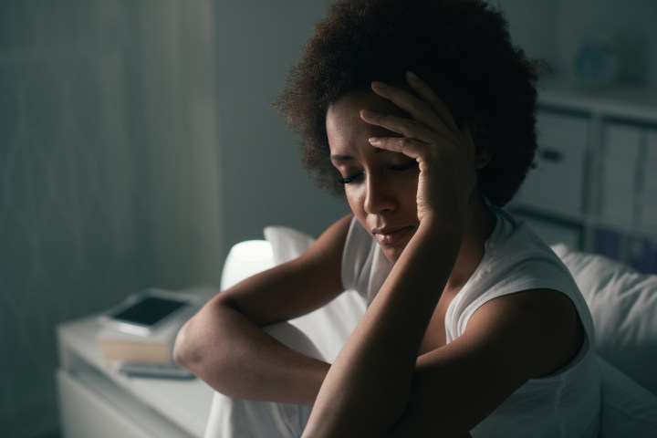 Sad woman suffering from insomnia