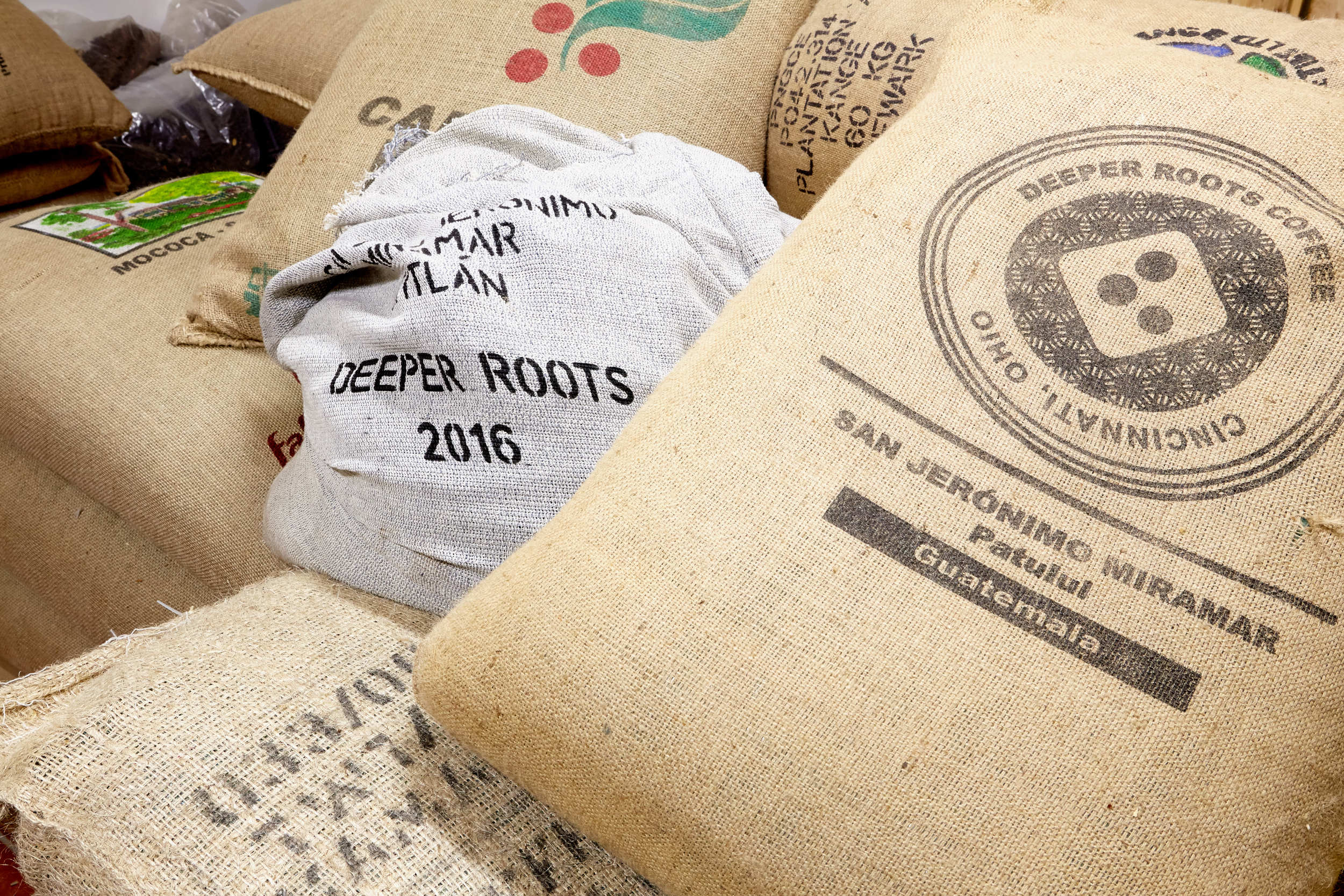 Stacks of coffee beans which are imported weekly. Photo by Brooke Shanesy