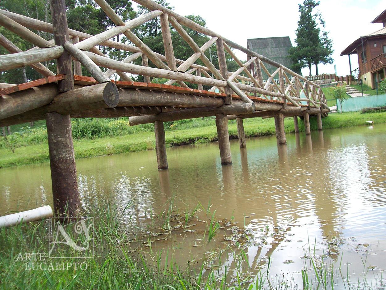 Ponte passarela em troncos de Eucalipto Citriodora Autoclavado , Piraquara - Pr
