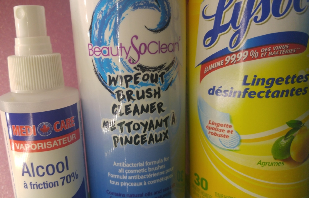 70% Alcohol, the best type of alcohol for disinfecting. BeautySoClean wipeout brush cleaner - a great antibacterial brush cleanser (they also make amazing cosmetic sanitizing spray) Lysol disinfecting wipes for wiping down palettes & tools.