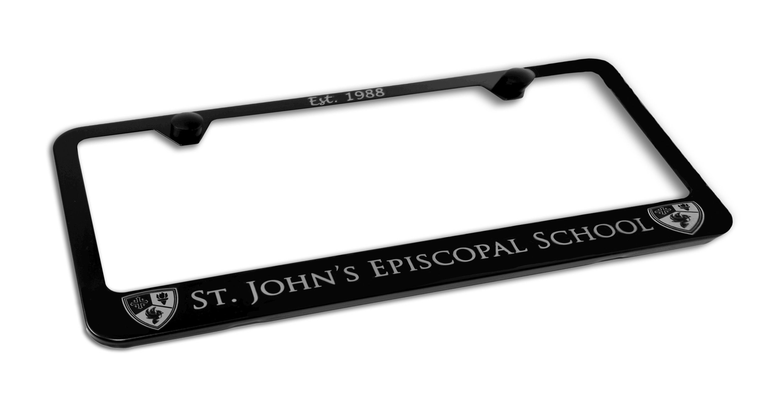 Custom Black St. John's Episcopal School License Plate Frame