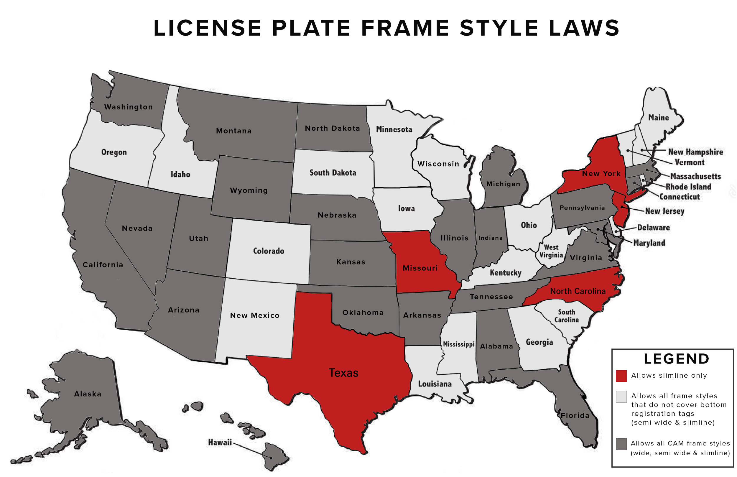 LICENSE PLATE FRAME COMPLIANCE LAWS MAP