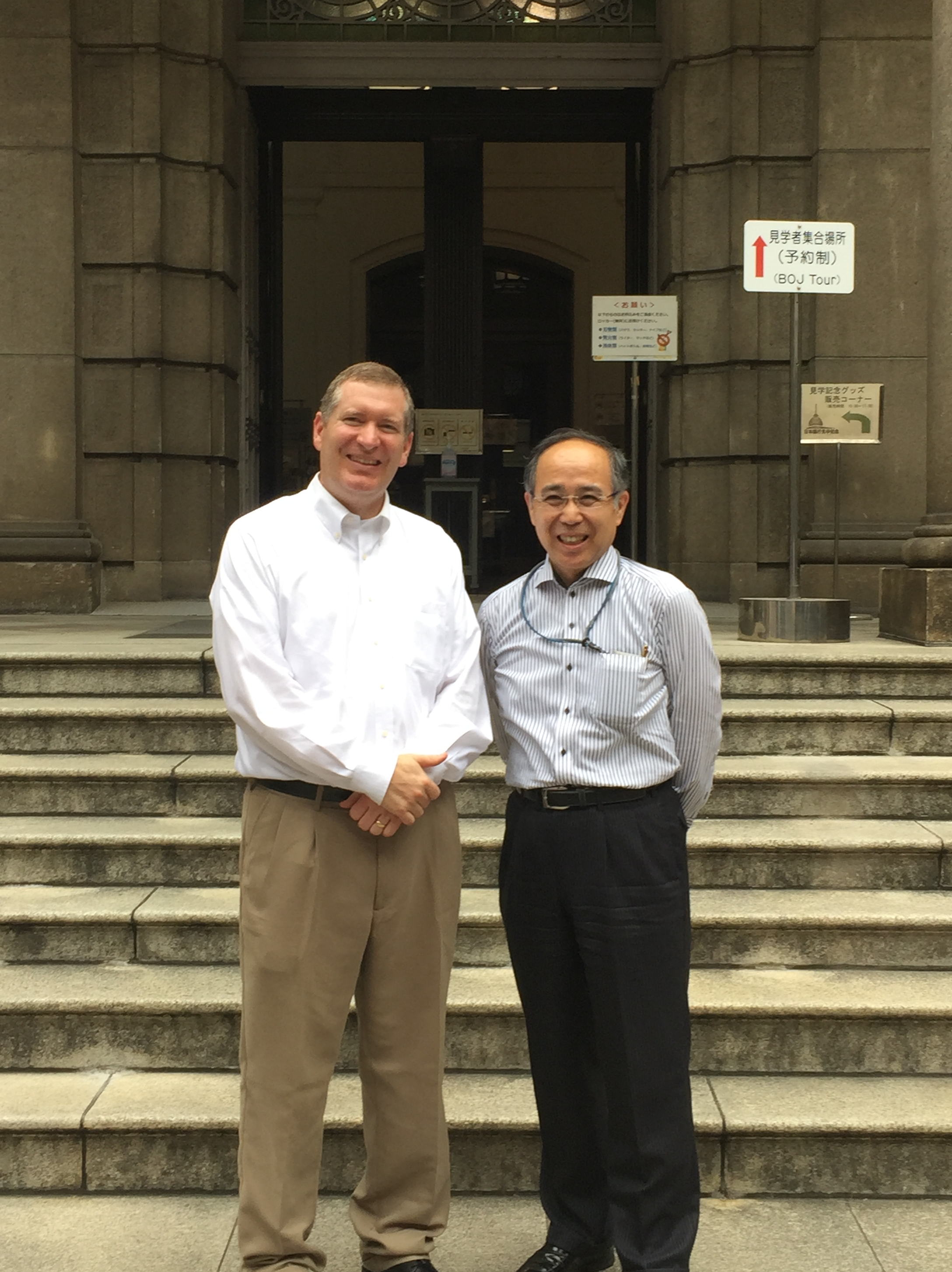 John Lunt with Shinji Isaki in front of the Bank of Japan