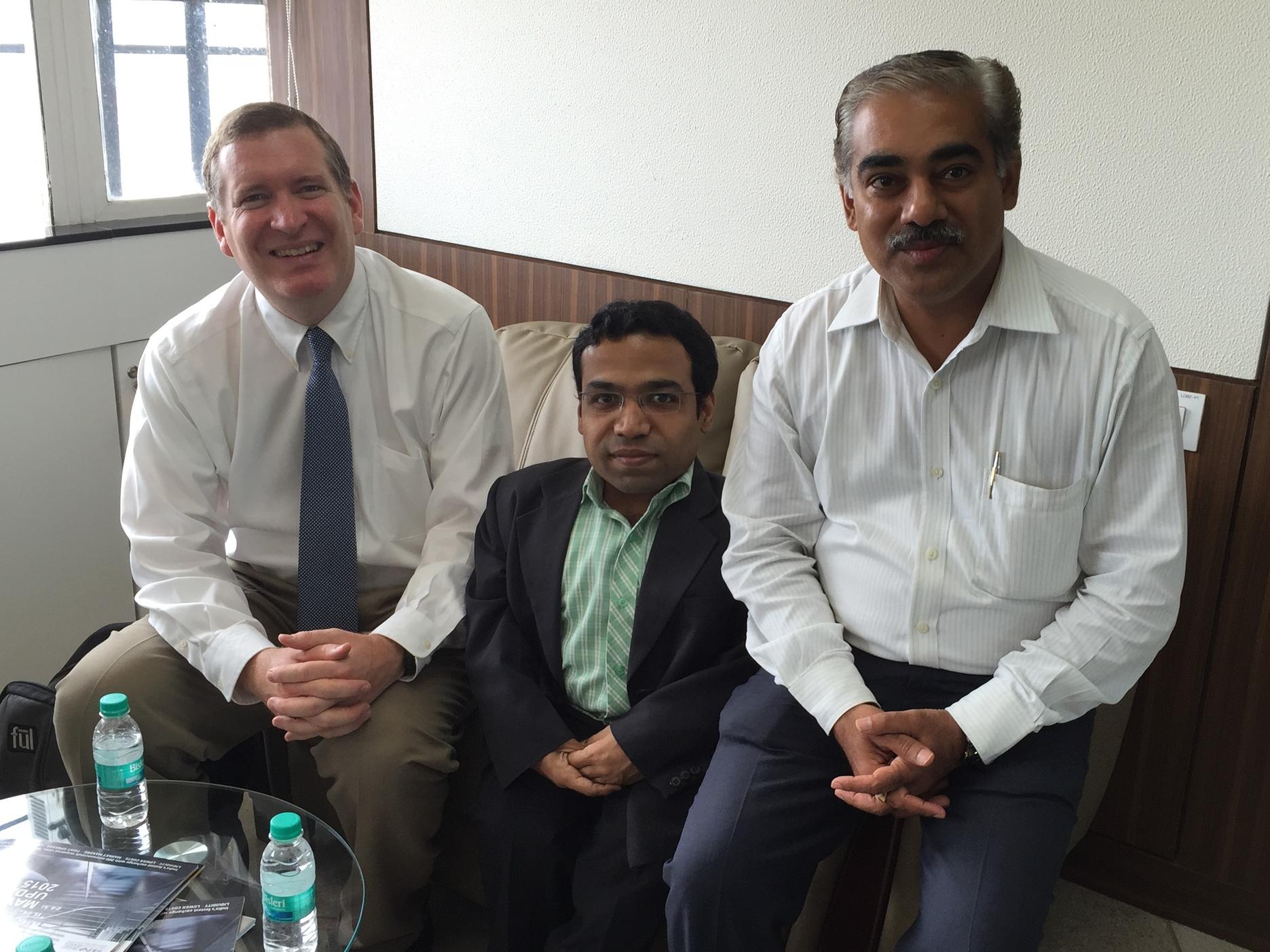 John Lunt with Chetan Pithadle and Piyush Chourasia