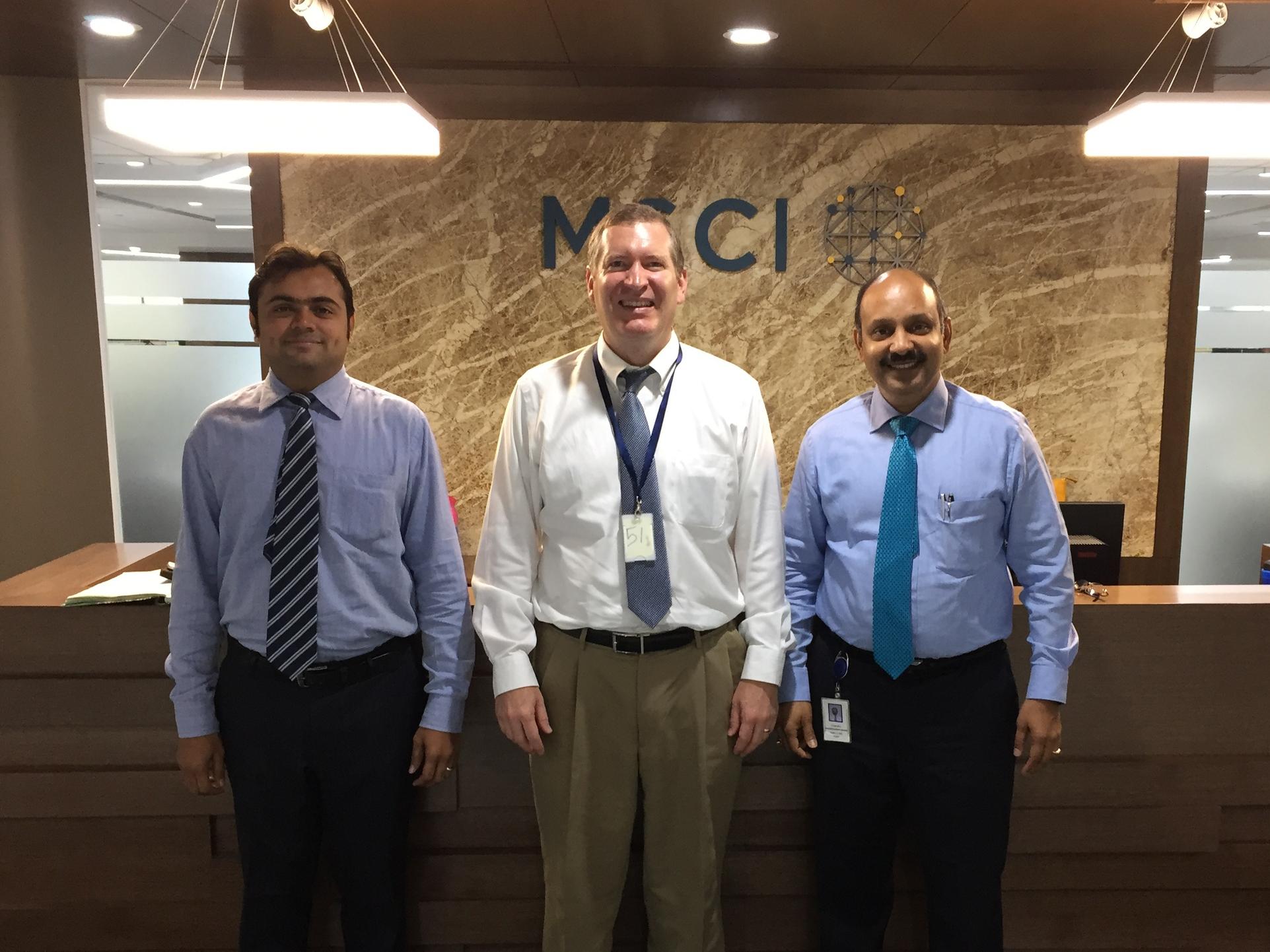 John Lunt with Chandru Badrinarayanan and Sushil Kumar Kiradoo of MSCI