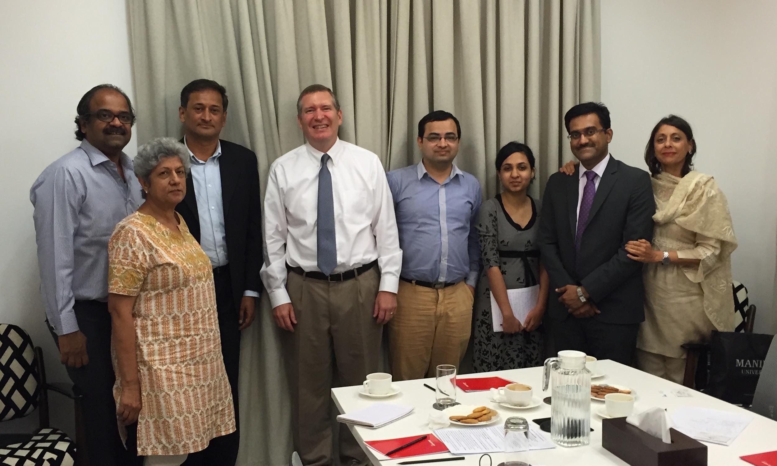 From left: Blaise Fernandes, Neelam Deo, W.S. Ravishankar, John Lunt, Amit Bhandari, Sharmadha Srinivasan, Sameer Patil, Manjeet Kripalani