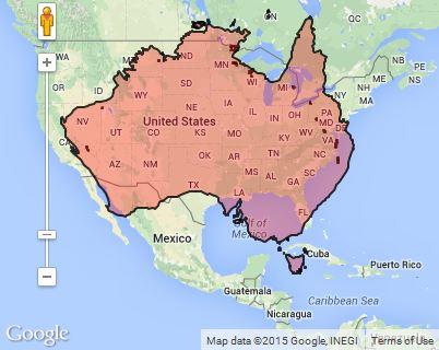 Country size comparison: Australia v. USA