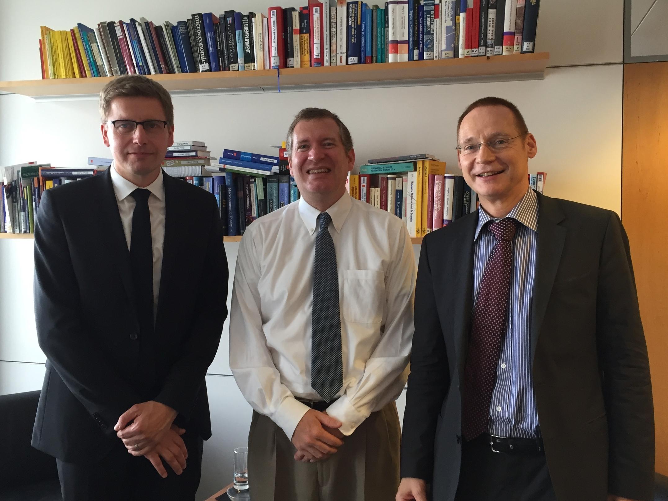 John Lunt with Matthias Schrape and Dr. Albrecht Sommer of the Deutsche Bundesbank