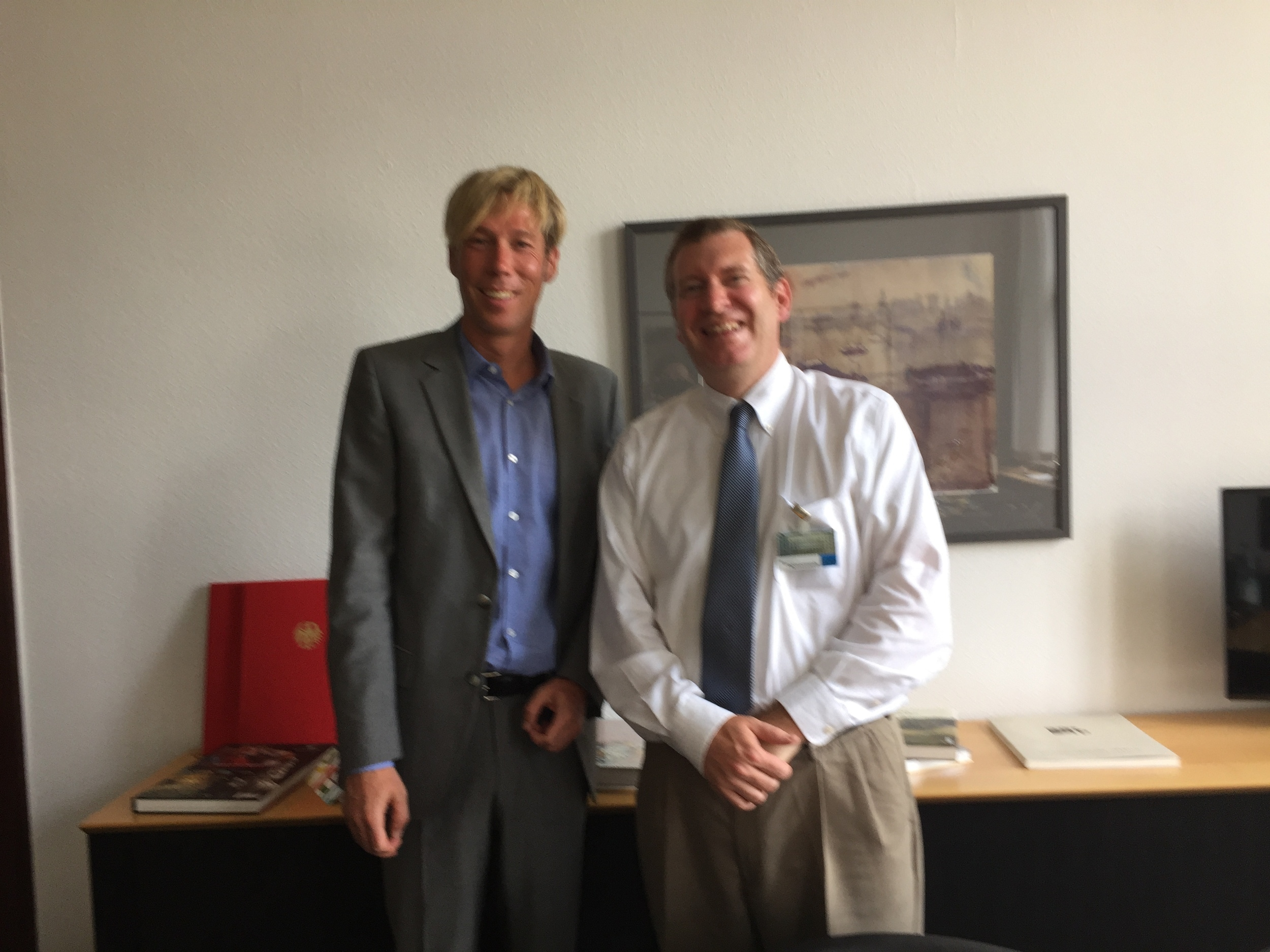 John Lunt with Torsten Arnswald, Economic Advisor and Head of Fiscal Policy Division