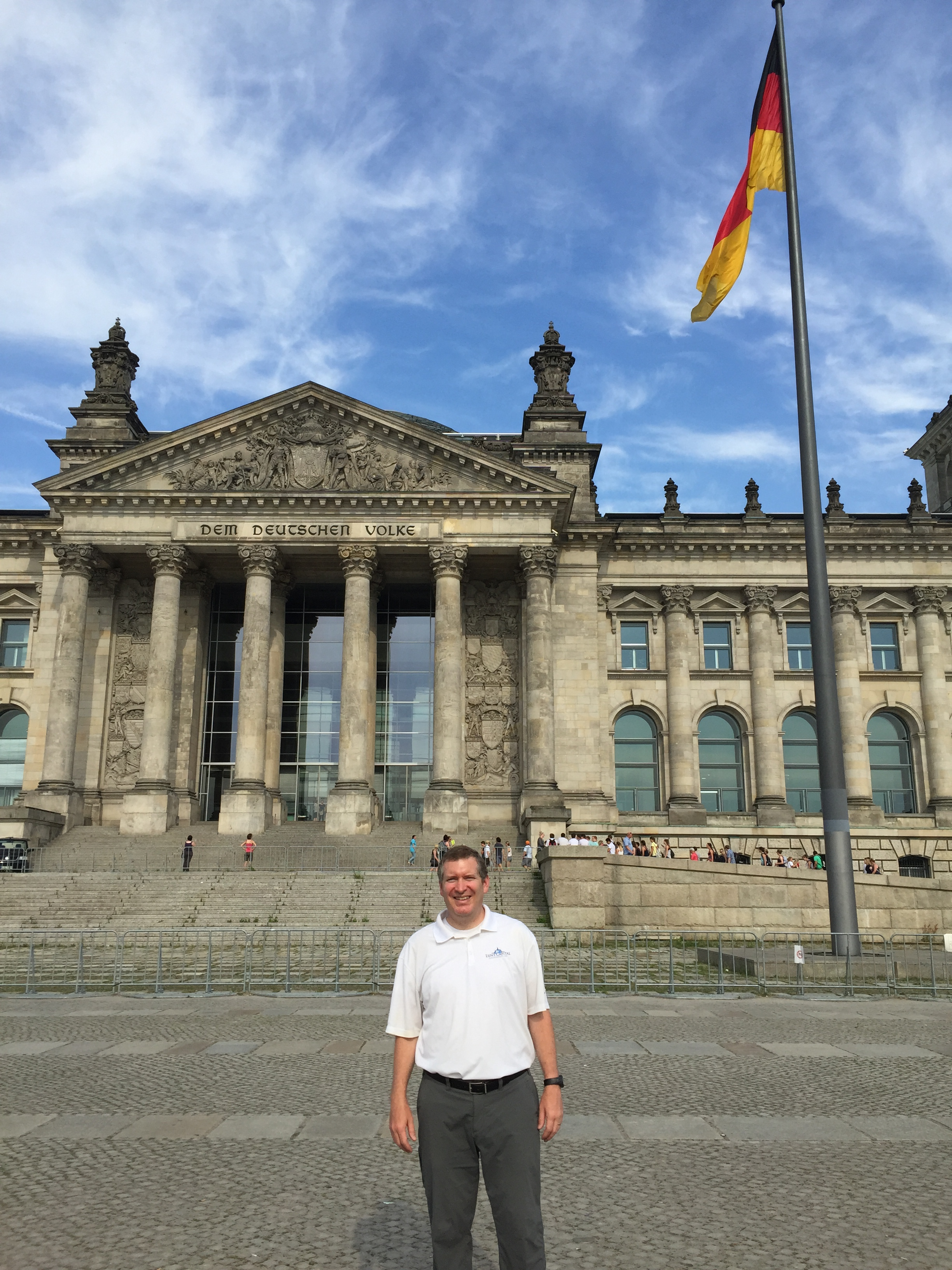 John Lunt in front of the Reichstag building.