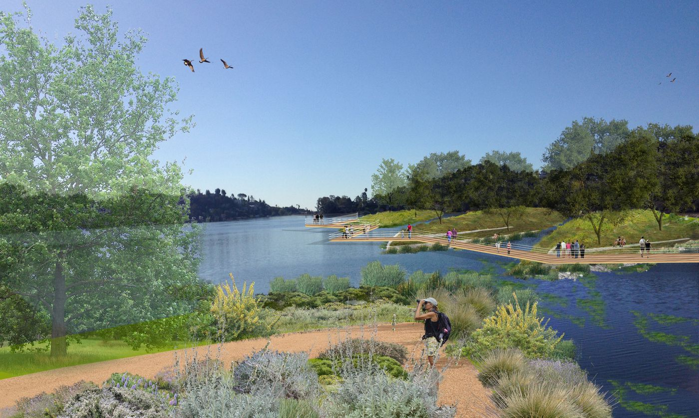 A mock up of one possible future for the Silver Lake Reservoir. (Silver Lake Forward)