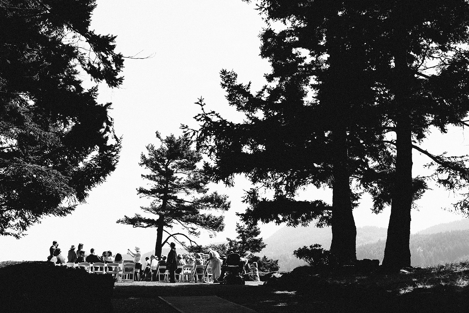 Wedding on the Point Lawn at Rosario, overlooking Cascade Bay below