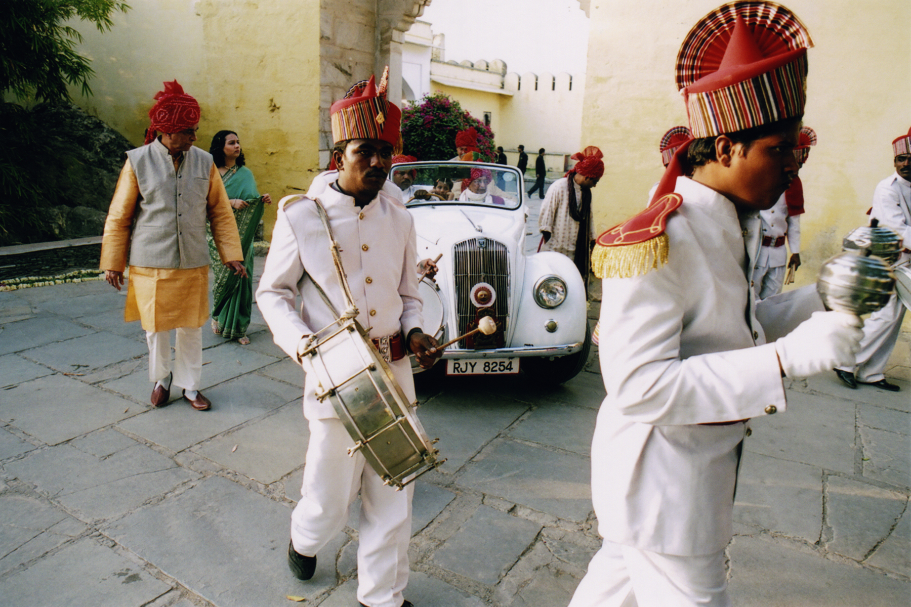 Wedding processional at Devi Gahr in Udaipur, India (Rajasthan)