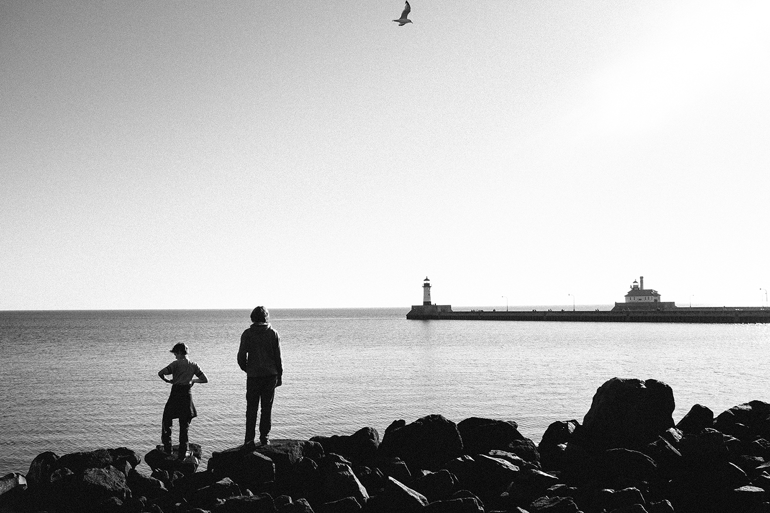 My two older boys at Lake Superior in Duluth, MN