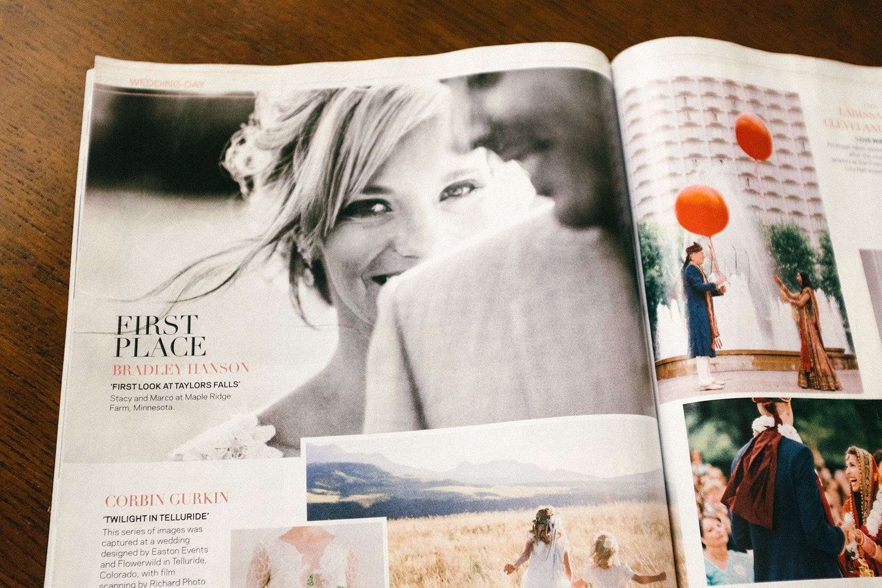 "May 2016 issue of Photo District News ""Top Knots"" wedding contest gallery"