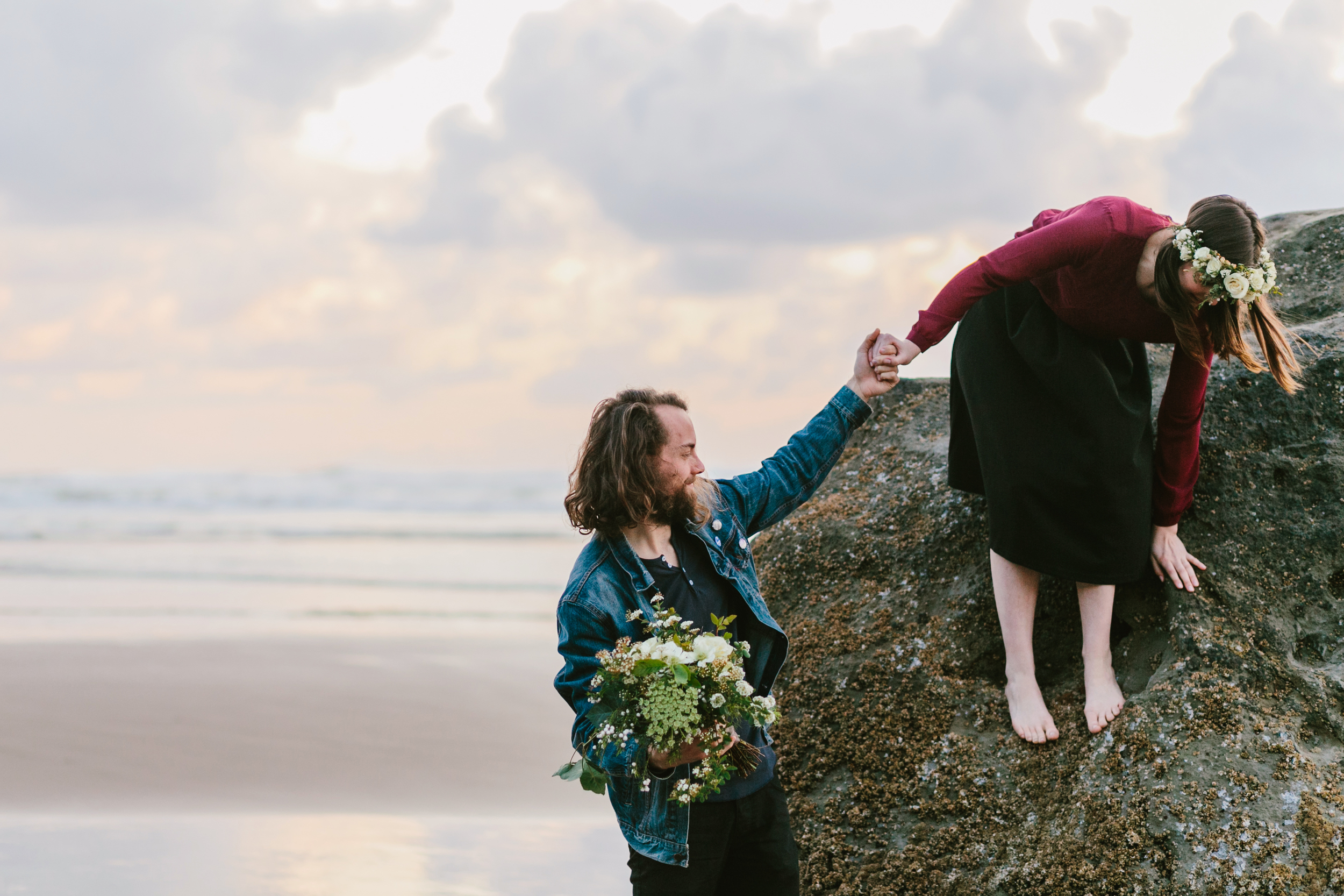 Lauren and Patrick, Oregon Coast Cannon Beach, Oregon Engagement Session, Grace and Jaden Hurtienne Photography (21)
