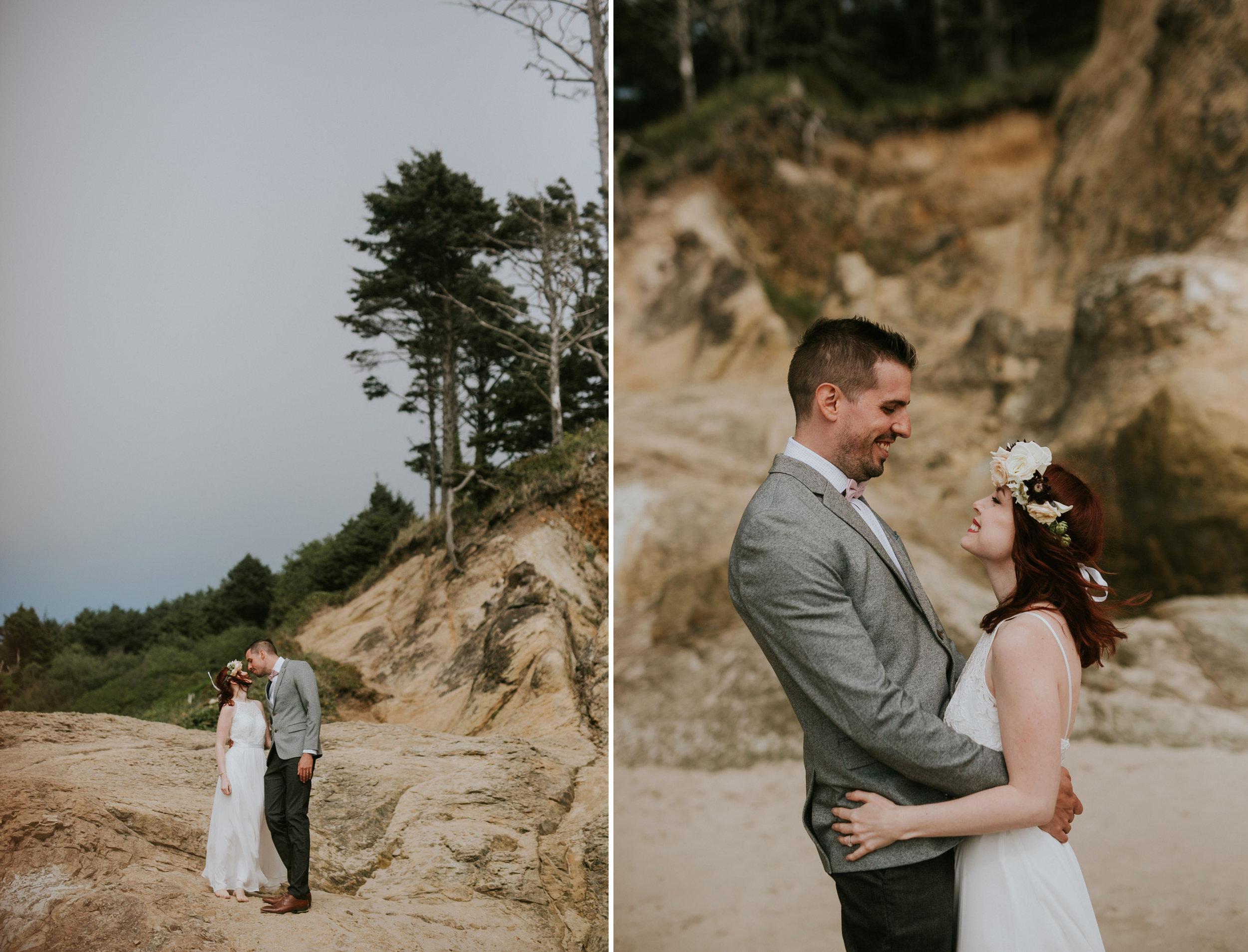 Hug Point, Oregon Intimate Elopement- The soft Season Photograph