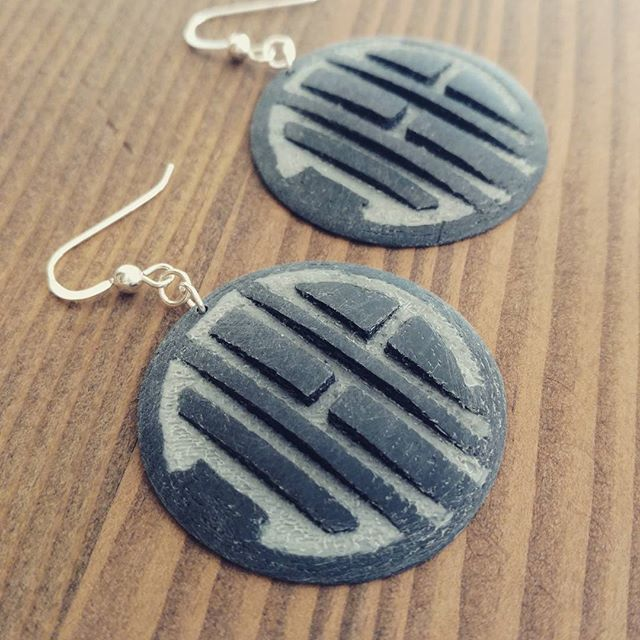 Weathered 3D Printed Earrings for our friend Drewry Ann Atkins.