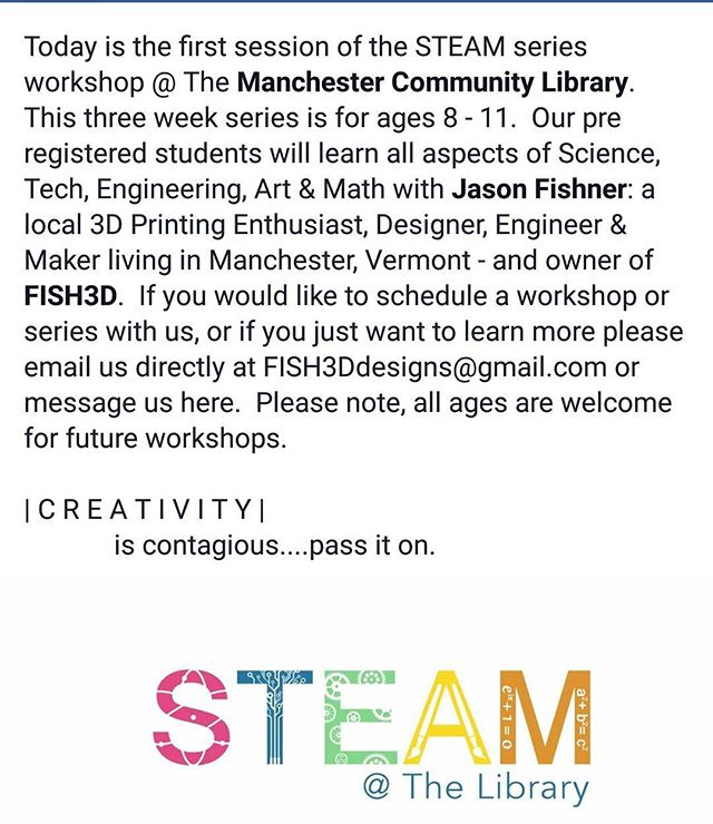 Follow us on Facebook for more updates! Direct message us if you want to schedule your own workshop. #steam #librarylove #sovt #southernvermont #engineering #3Dprinted #3Dprinting #LOVermont