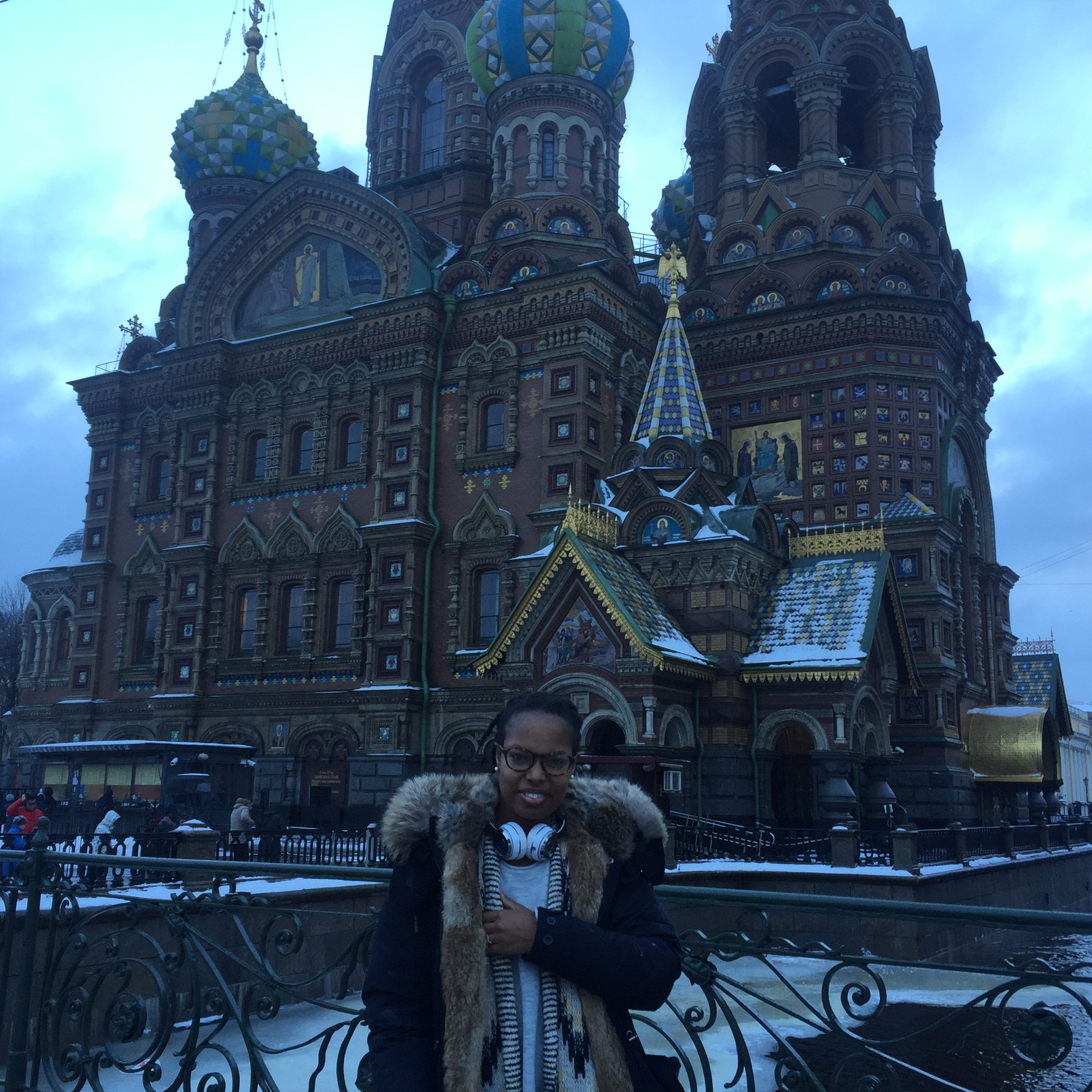 Standing in front of one of St Petersburg main churches...
