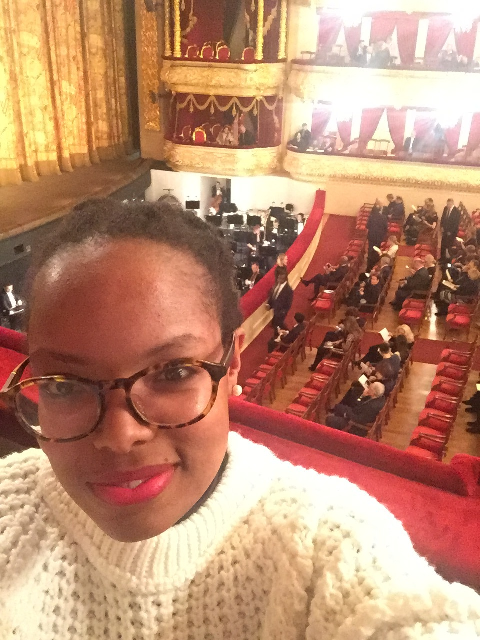 Here I am during intermission of the Opera I went to see at the Bolshoi Theatre