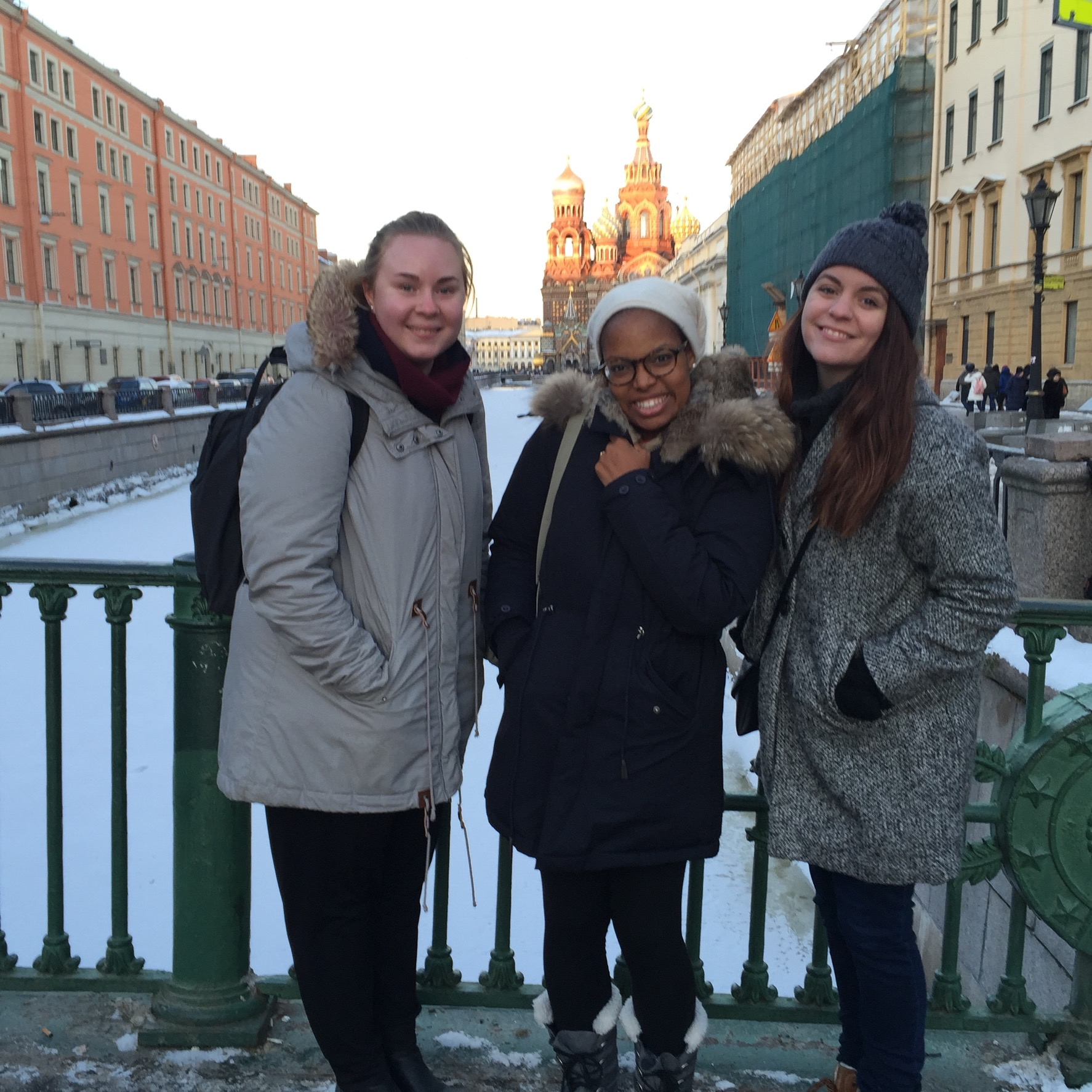 With Siobhan and Klara in St Petersburg with the Cathedral of the Spilled Blood in the background