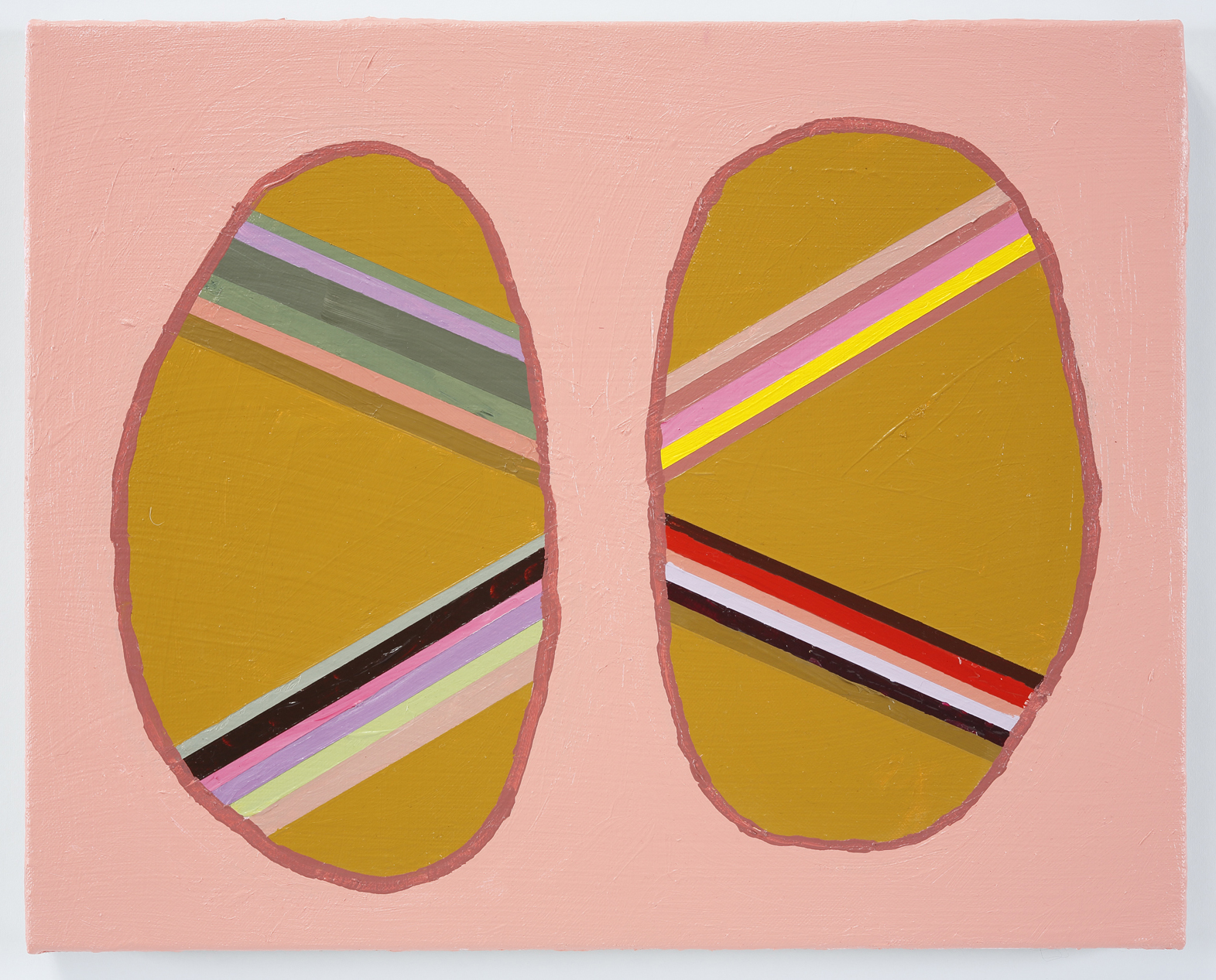 Pink Ovals  2014, Acrylic on linen, 16 x 20 in