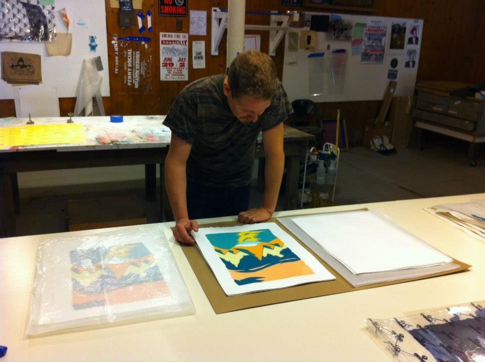 Maximillian Bode working on his print edition in the Wassaic Project's silkscreen studio!!