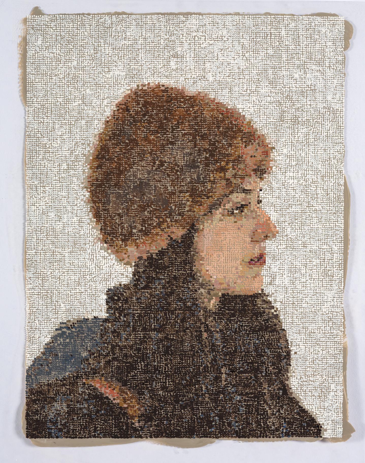 Lauren in Fur Hat  2017, Gouache and Acrylic on Duralar on Panel, 8 x 10 in SOLD