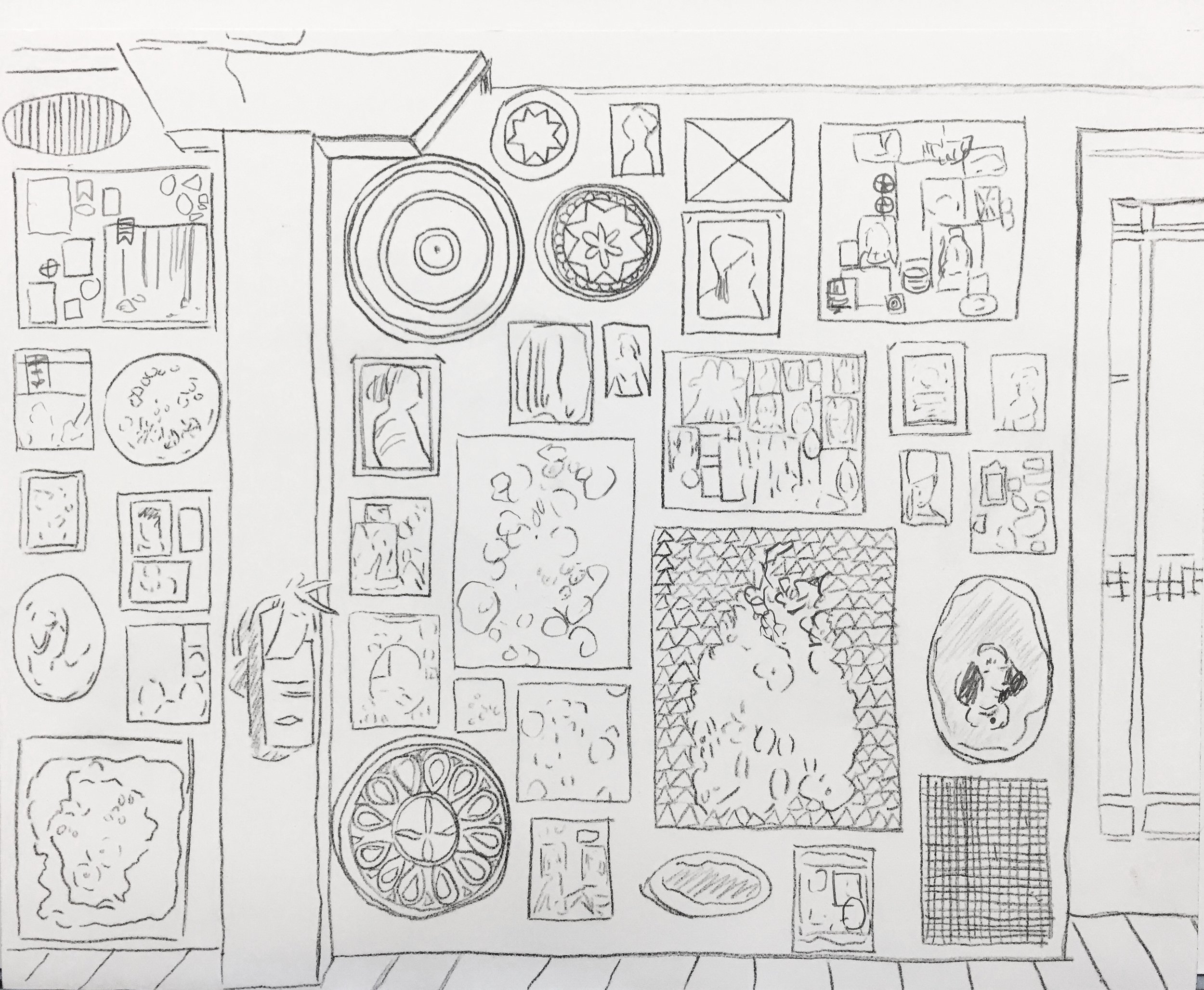 Salon, 2017, drawing in process, 8 x 10 in, pencil on paper on panel