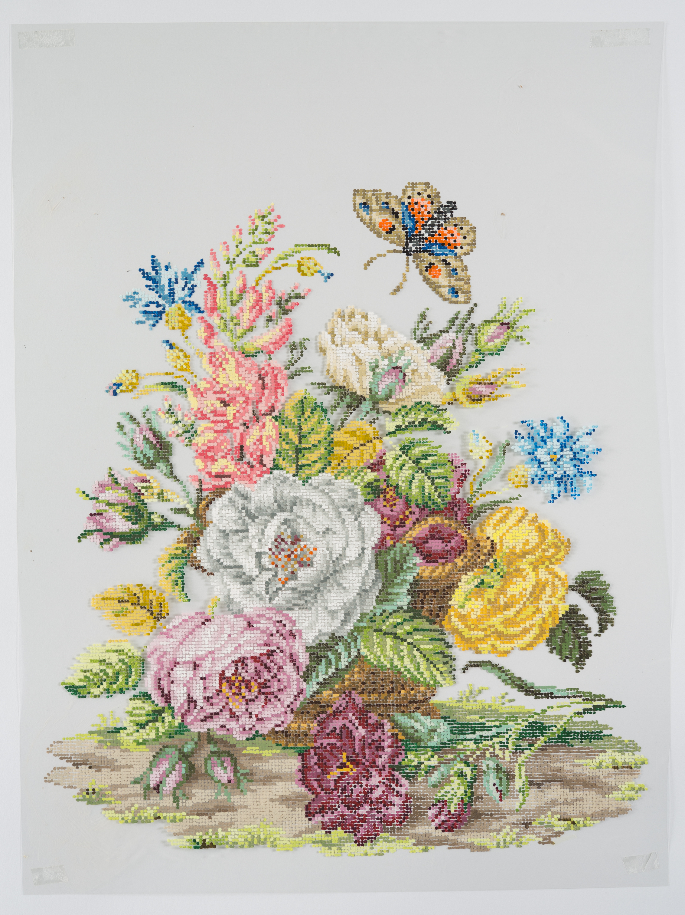 After Floral Embroidery  2016, Gouache on Duralar, 15 x 29 in