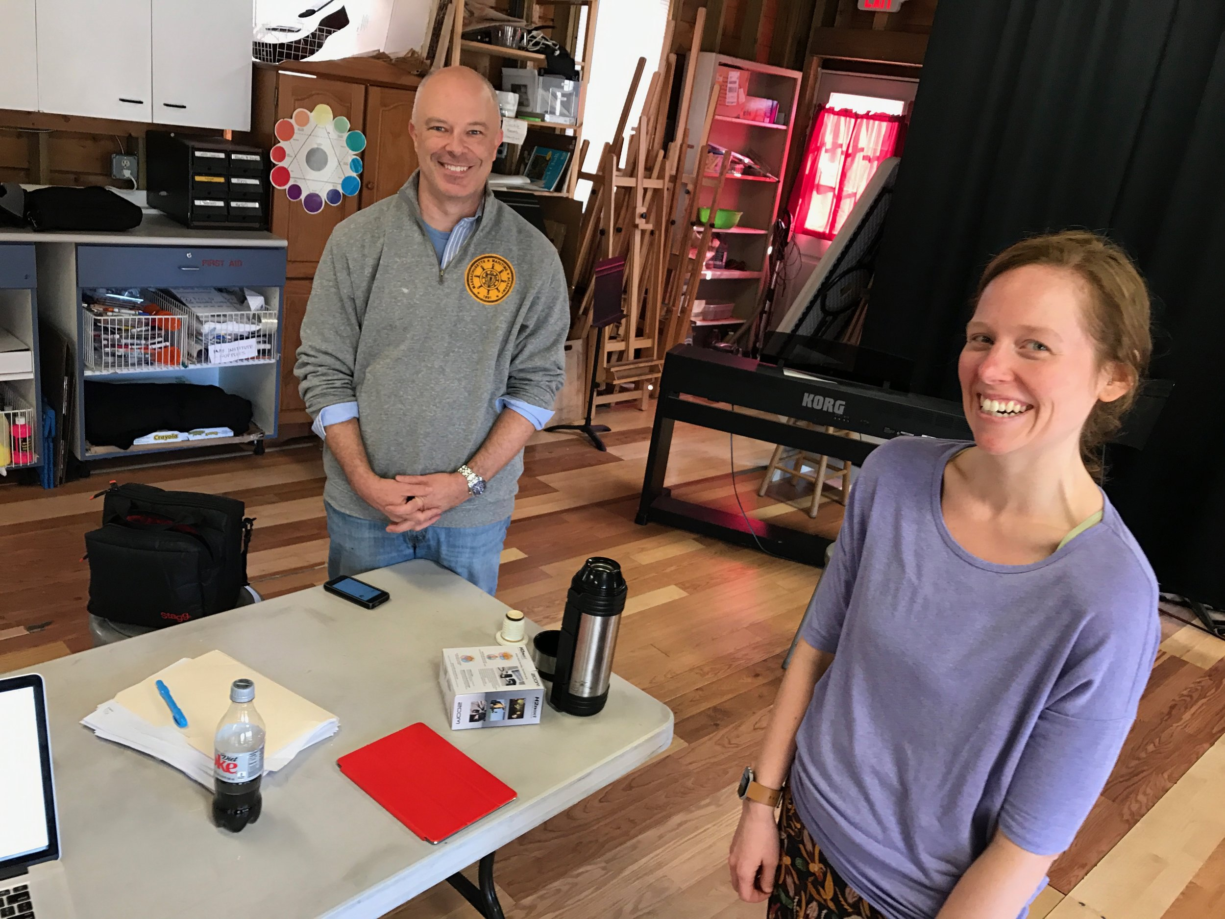 Ian and the amazingly talented Anna Bottsford during our recording of the party scene sound effects. It was crucial to get this right in order for the audience to visualize the off-scene action they could not see. These guys were amazing!