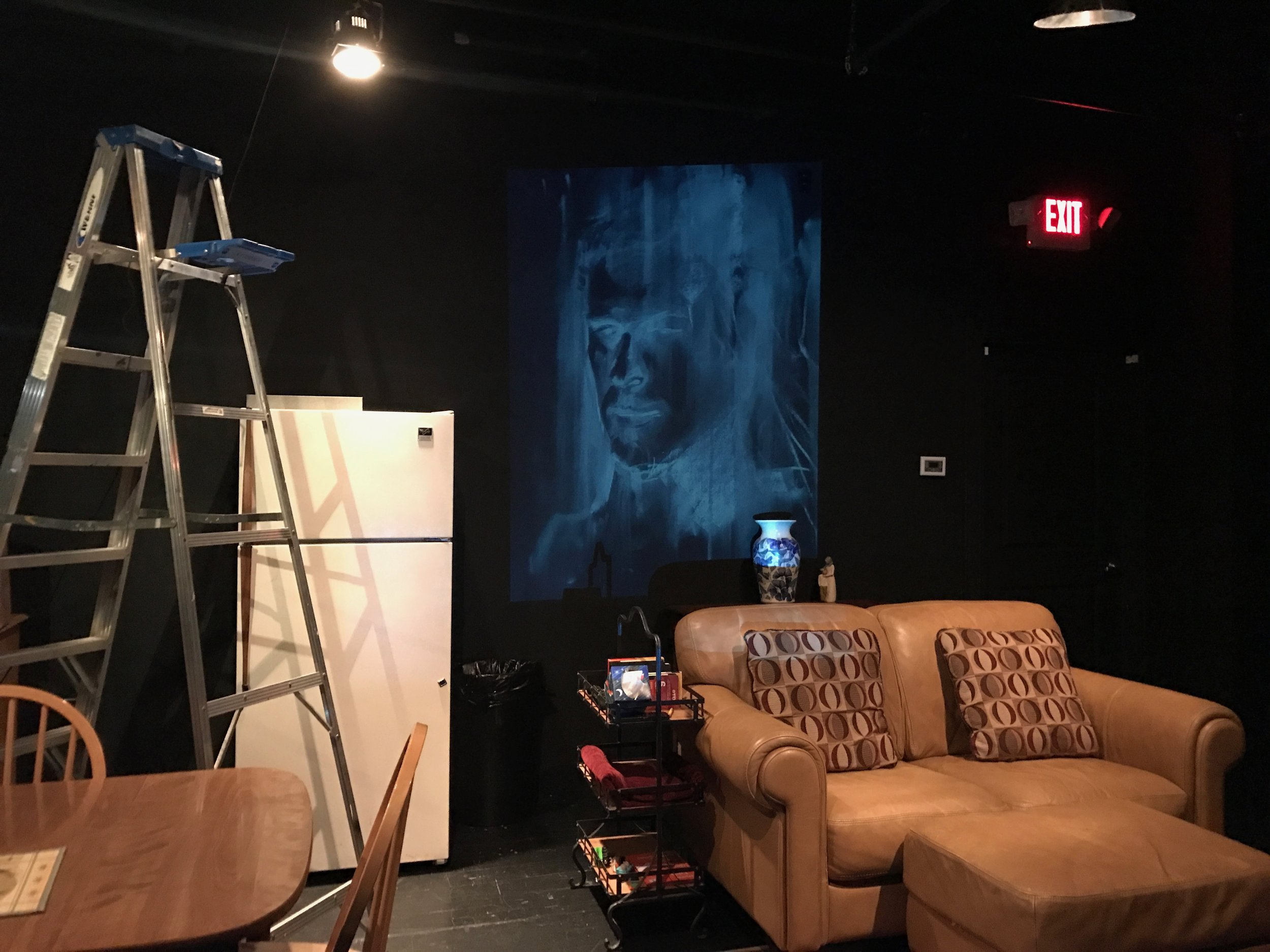 """As a proof of concept, we slipped into the Black Box during the run of """"Rabbit Hole"""" and projected a sample sketch against the back wall.It worked – thank god!"""