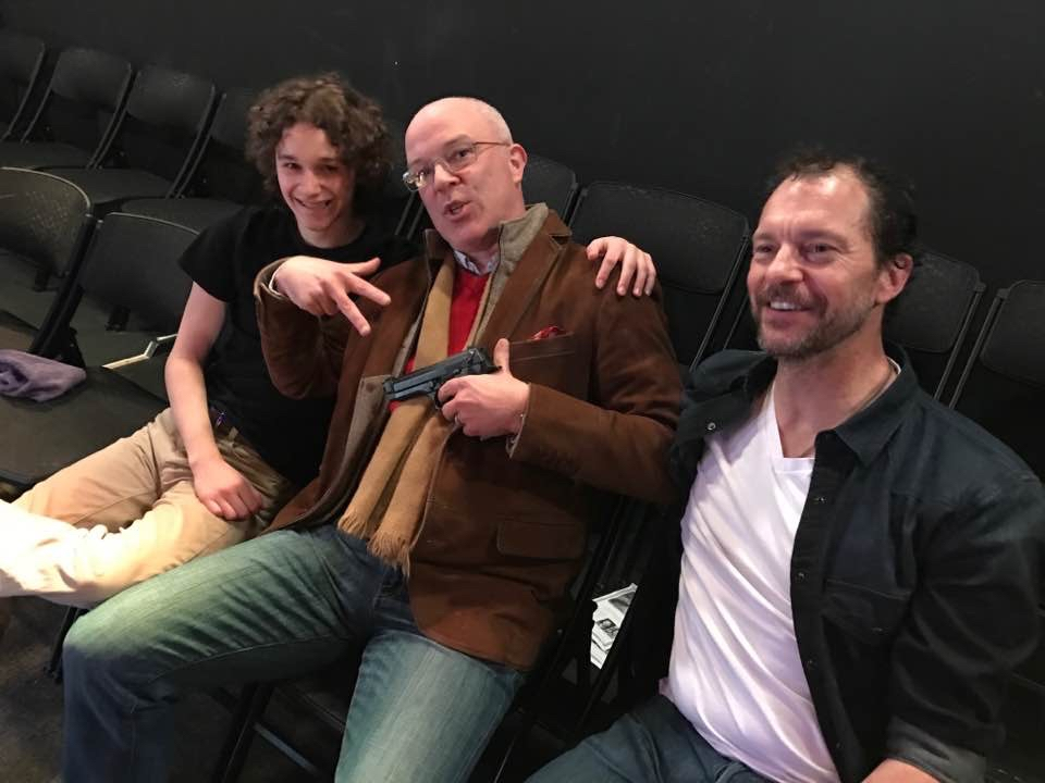 Nick, Ian, and Tony during rehearsals. (Ian is not wearing the wig he wore one day to freak us all out. We thought at first he was Greg Hamm.)