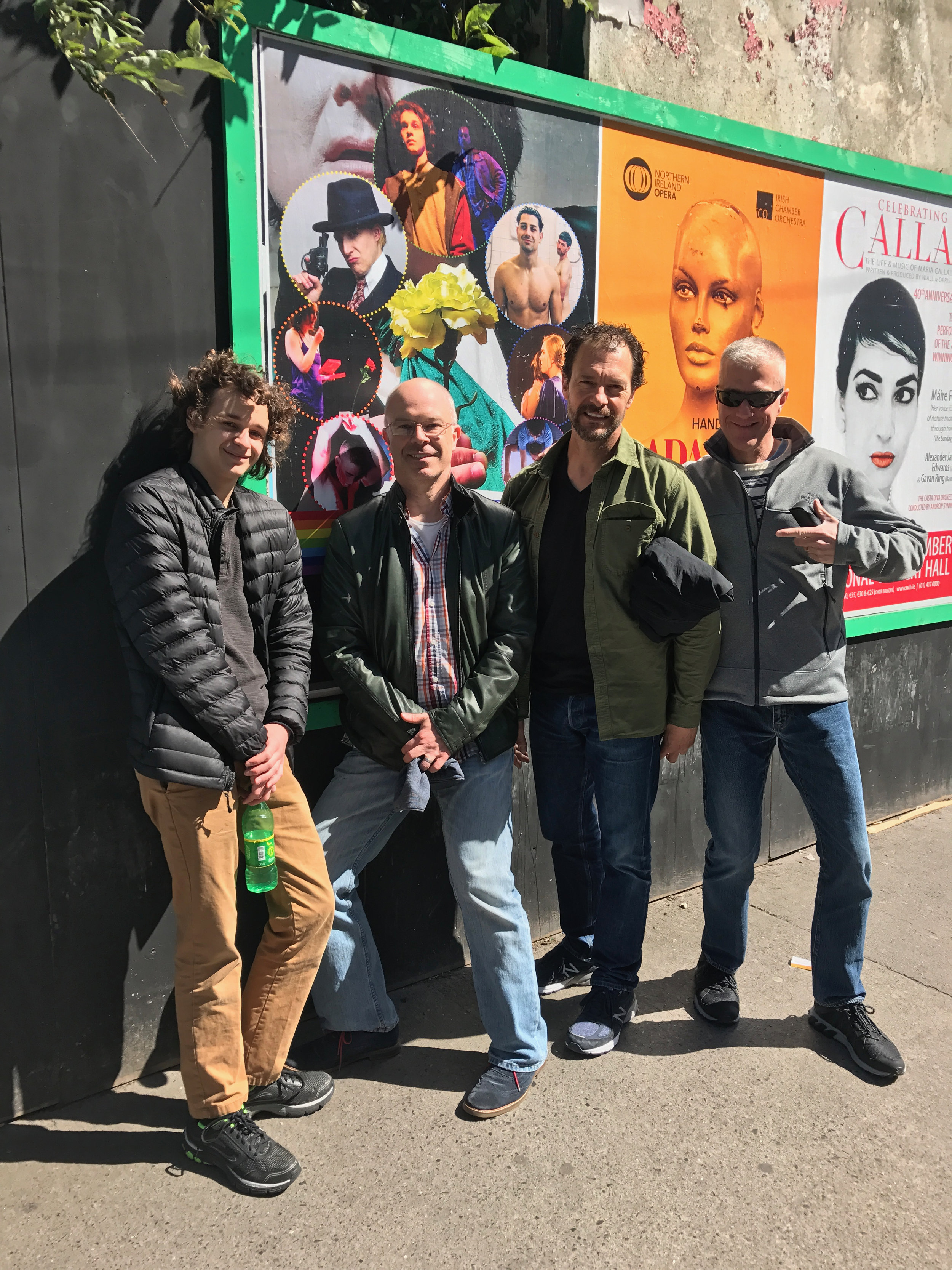 My boys are famous ... seeing themselves on one of the Dublin billboards for the first time – Nick, Ian, Tony and Rob.