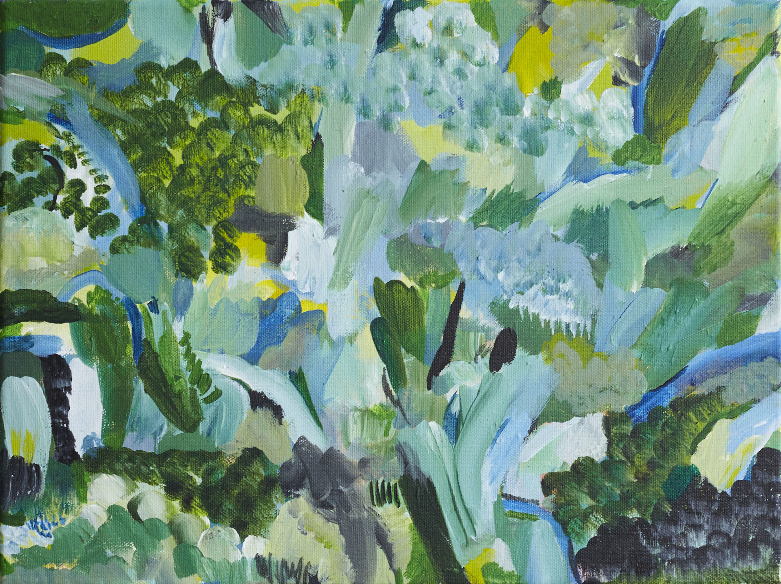 'Dancing Greens '  50x40cm', acrylic on canvas available via Liberty London (sold)