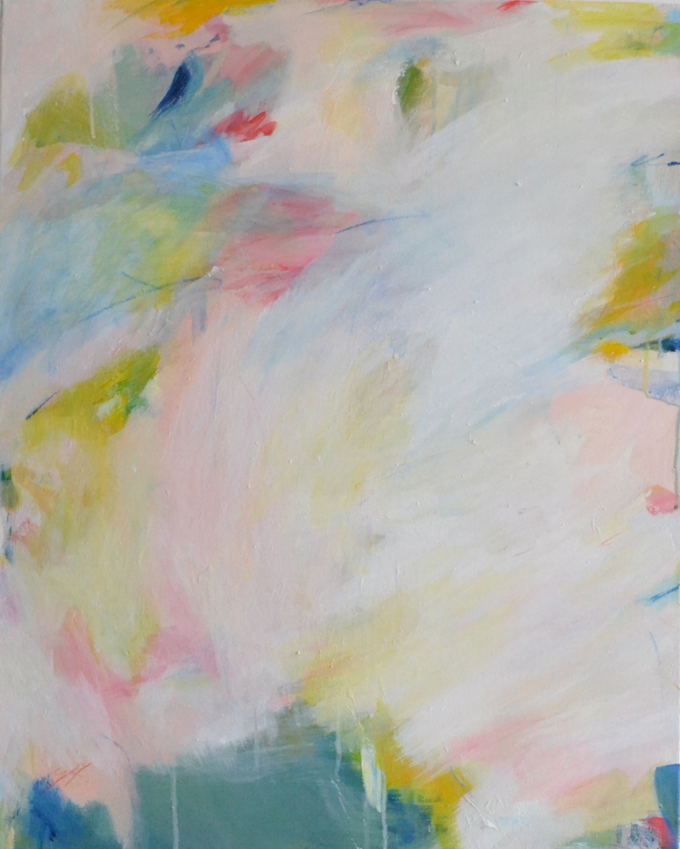 "Spring Commission, calming, joyful, abstract painting. Measures 30""x26"""