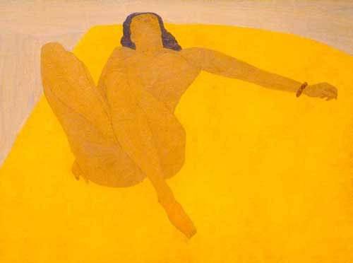 'naked at the yellow bed cover' Pierre Boncompain