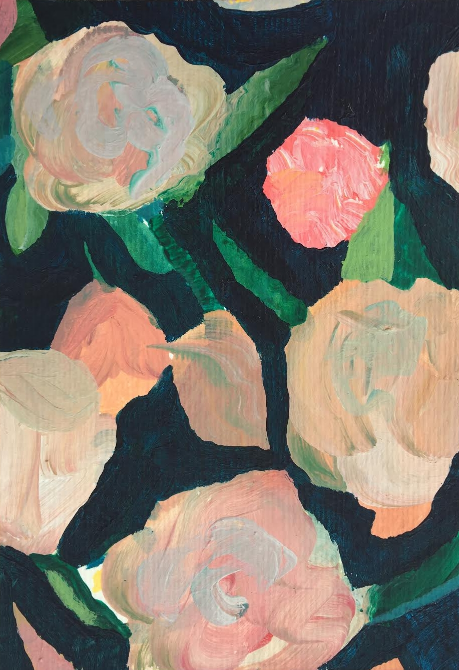 Laura Gee Navy Abstract Floral Painting- Dulwich Gallery