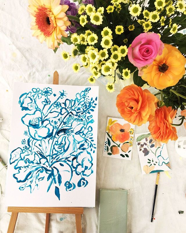 Inky Blooms , getting ready for today's workshop, New Summer tickets now available ~link in bio 💙💐 . . . . #wildflowers #flowerdrawings #laurageeart #studiowall #londonartist #minimaldrawing #flowers #originalartwork #britishart #femaleartist #flowerdrawing #linedrawing #contemporaryart #bluepainting #paintingworkshop #londonworkshop