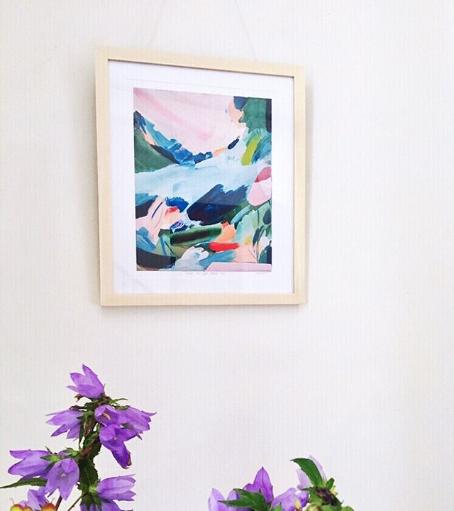 'How The Light Fell On You' fine art print, looking happy in a new home 💕💜🌸✨ This print is available from A3 to A1 and brings a joyous colour to any wall ✨ . . . . . . . . #lauragee #abstractart #inspiredbynature #flowerpainting #botanical #contemporaryart #acrylicpainting #plantpainting #homedecor #wallart #gallerywall #boldinteriors #joyfulhome #colourfulprint #artprint #ukprints #londonart #homeinteriors #artinthehome #naturepainting  #startanartcollection #contemporaryart #bluepainting  #artfair #artmarket
