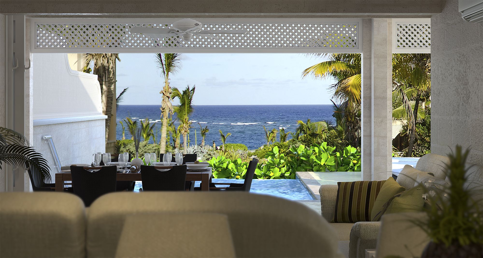 Take in the Ocean View from your Ground Floor Private Residence with private pool and gardens.