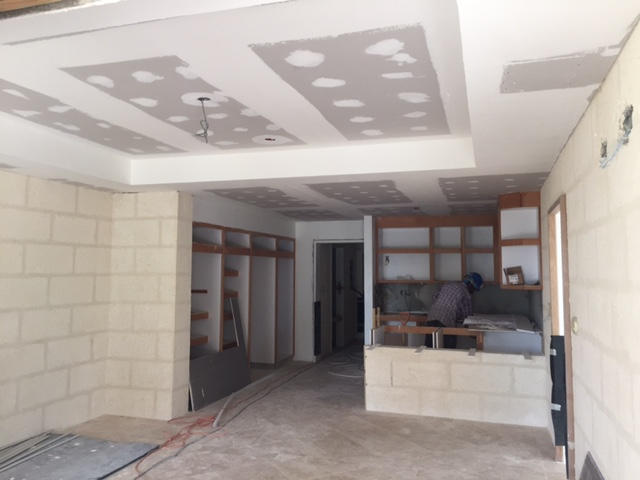 Plasterboard ceiling works in ground floor residences