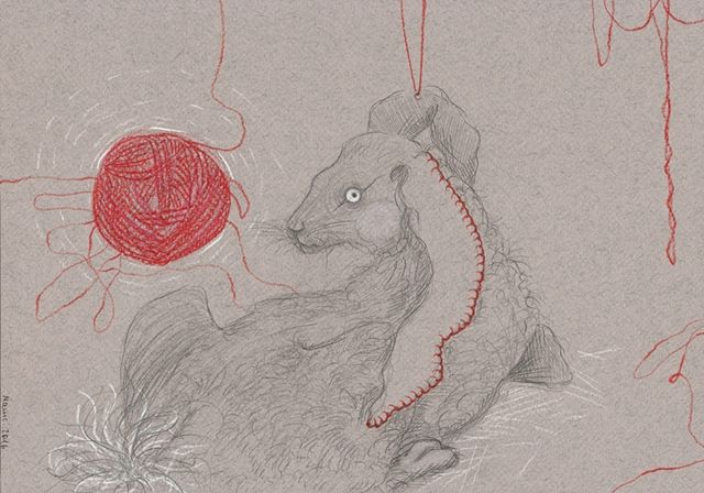 ANXIETY by Galina Antipina.  11.69''x8.27'' Pencil on Paper. Stare at the limbic weasel entangled in the red thread  #NewYorkArt #MuseumShow #Exhibition #Collecting #NYart #Show ArttakesManhattan.org