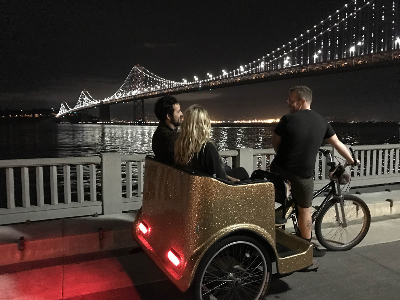 Enjoy the Bay Lights from the comforts of a San Francisco Pedicab