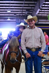 Sam and daughter Becca Schaffhauser had a great time showing in the Lead Line Reining on Friday evening, where all contestants won blue ribbons and other prizes!