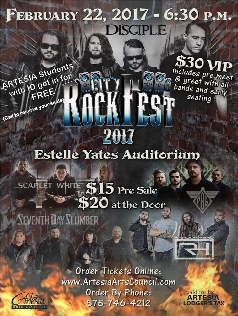 We will move our services to the Auditorium for this free concert...just bring your student I.D.  Disciple, Project 86, Seventh Day Slumber, Scarlet White, and Random Hero.