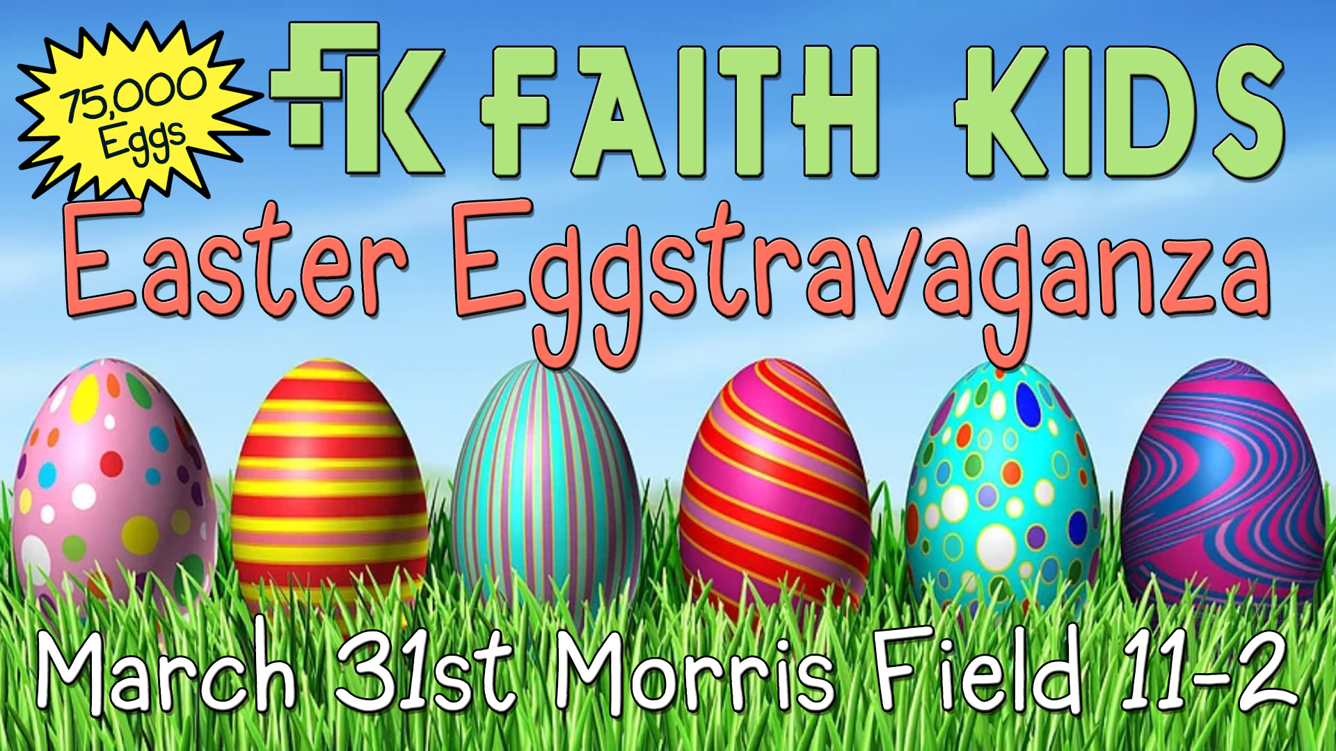 Come to Morris Field Saturday March 31st for a great day of egg hunts, food, jumpies, and much much more.