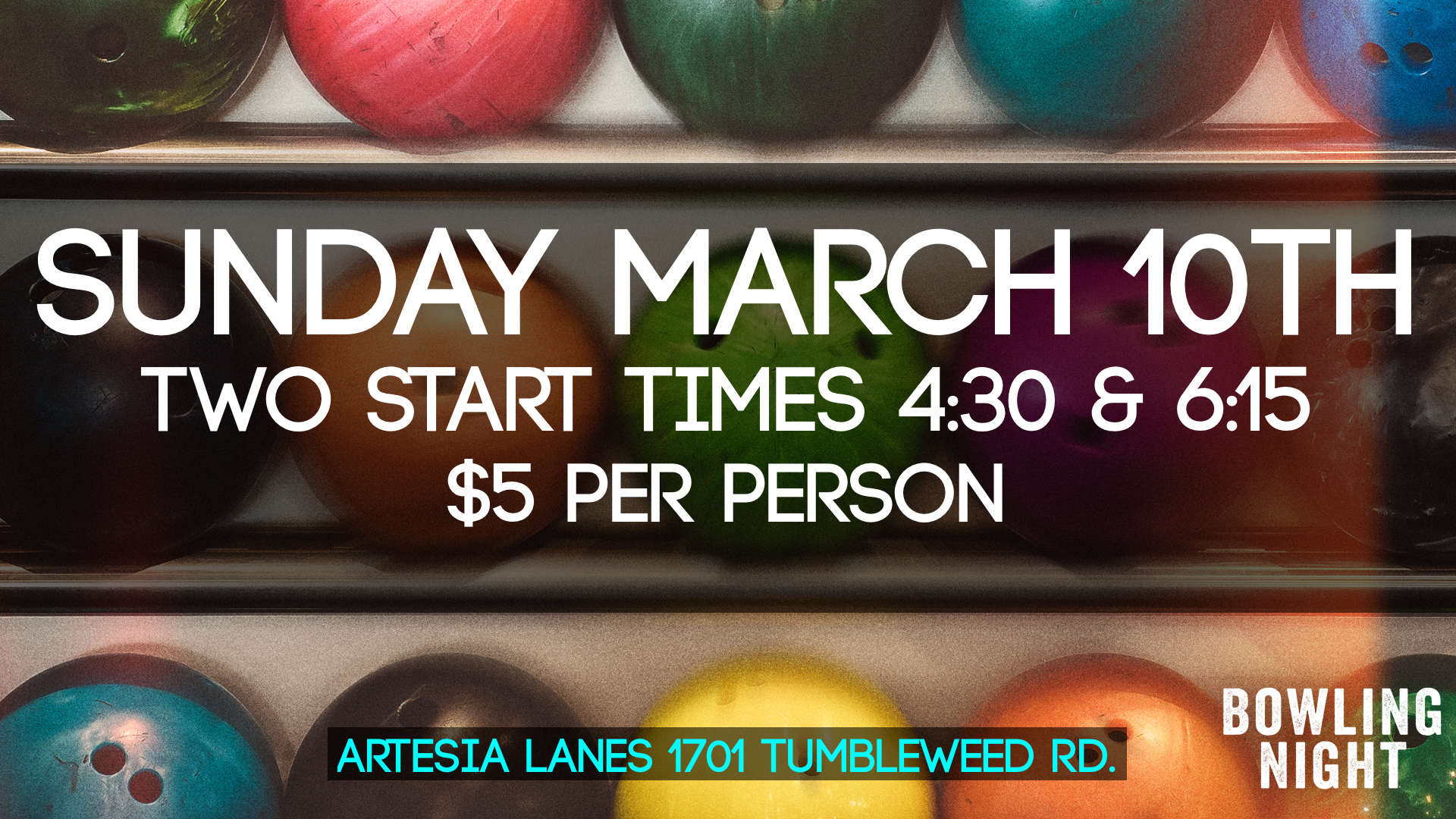 We are going to rent out the bowling out for a family outing.  Get your family signed up for Sunday March 10th to go bowling.  There are two times you can sign up for 4:30 & 6:15.  Its going to be great.